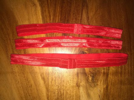 3 X 5/8 FOE ELASTIC PRE MADE HEADBANDS IN RED